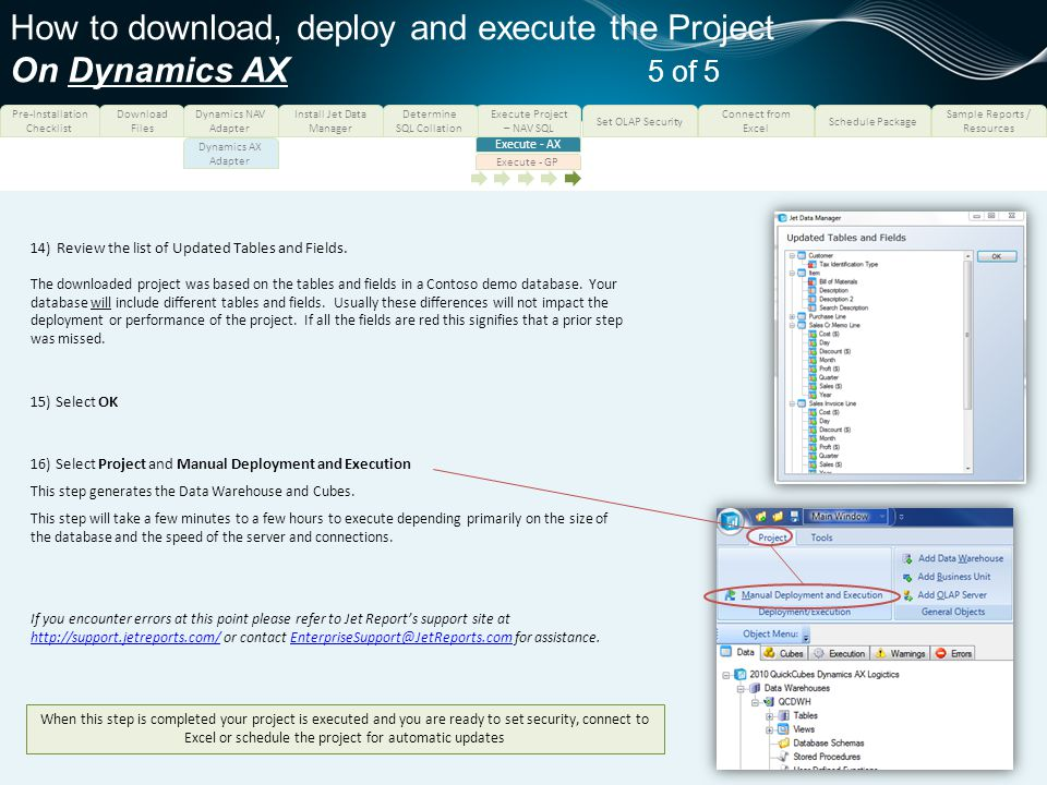 How to download, deploy and execute the Project On Dynamics AX 5 of 5