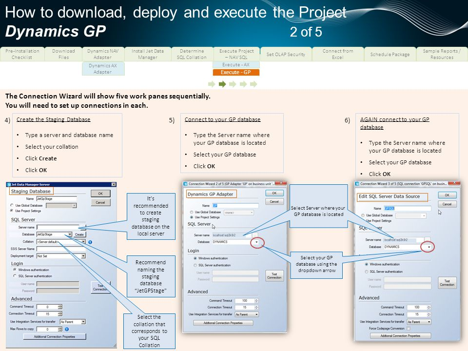 How to download, deploy and execute the Project Dynamics GP 2 of 5