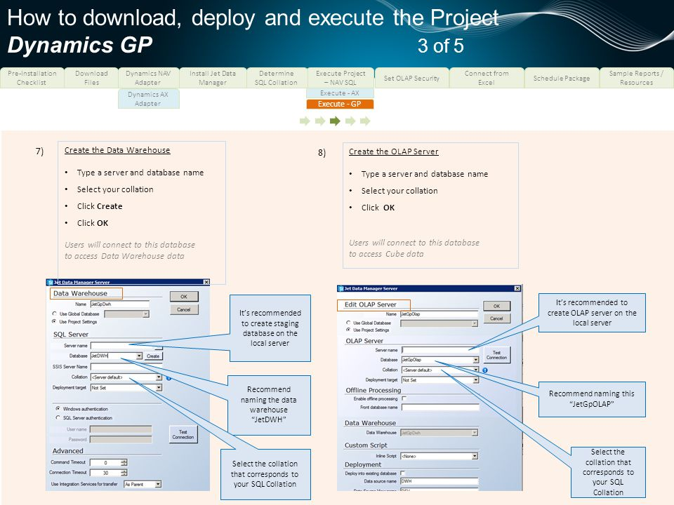 How to download, deploy and execute the Project Dynamics GP 3 of 5