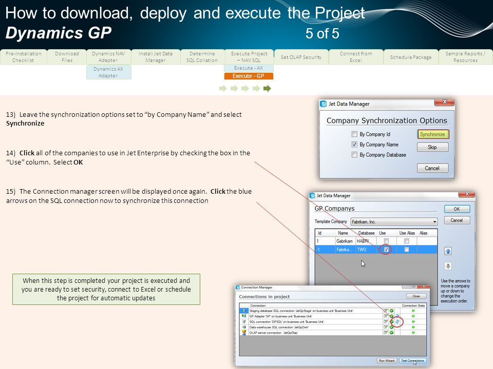 How to download, deploy and execute the Project Dynamics GP 5 of 5