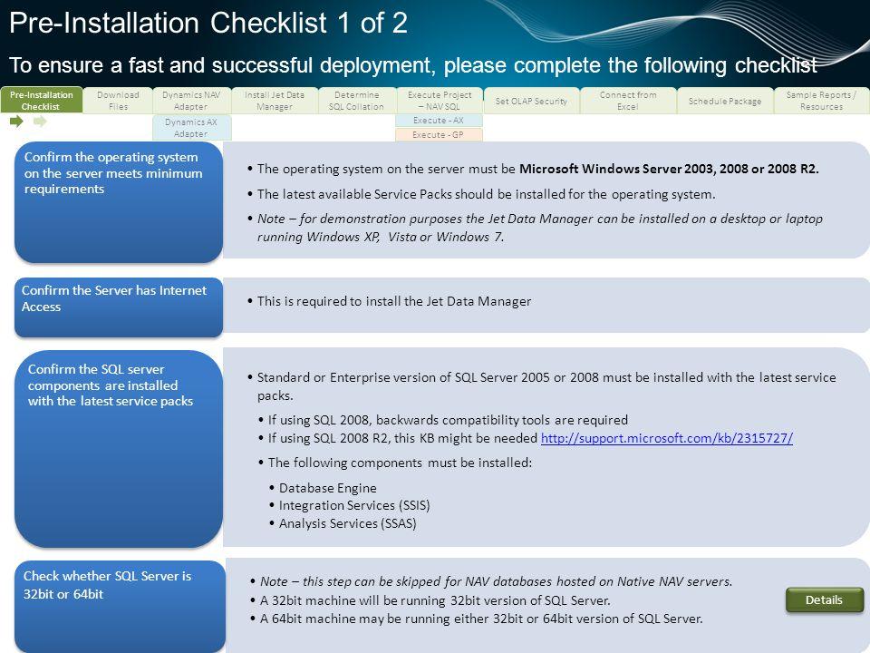 Pre-Installation Checklist 1 of 2