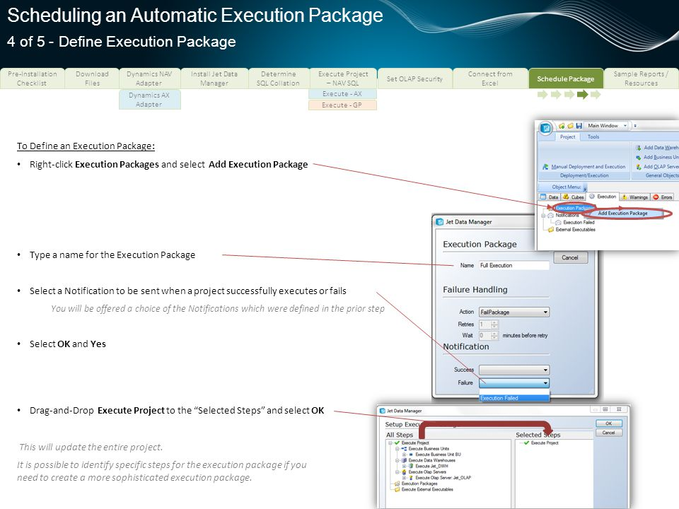 Scheduling an Automatic Execution Package