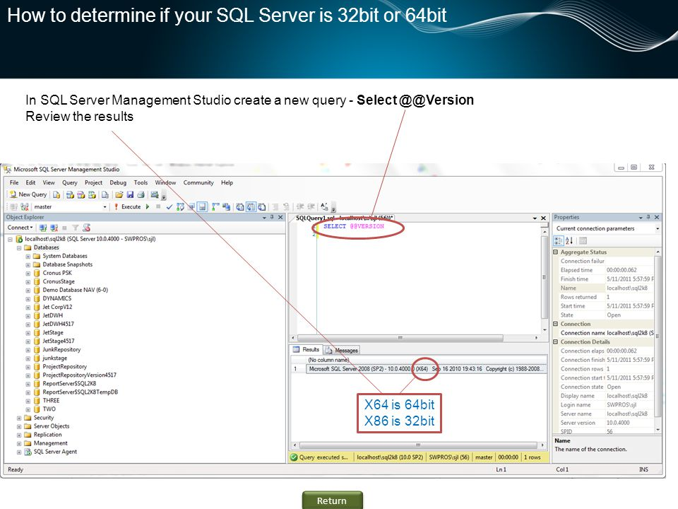 How to determine if your SQL Server is 32bit or 64bit