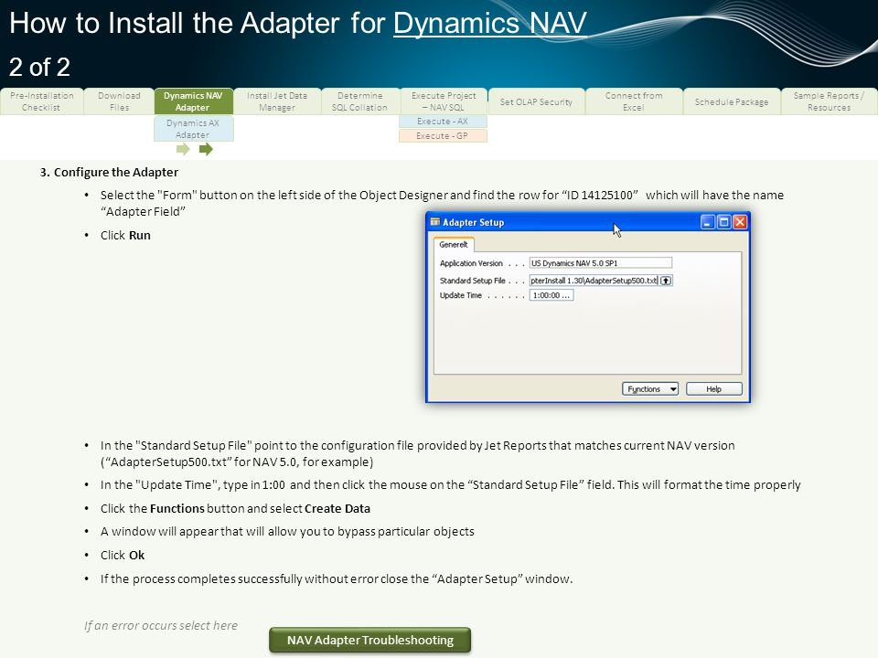 How to Install the Adapter for Dynamics NAV