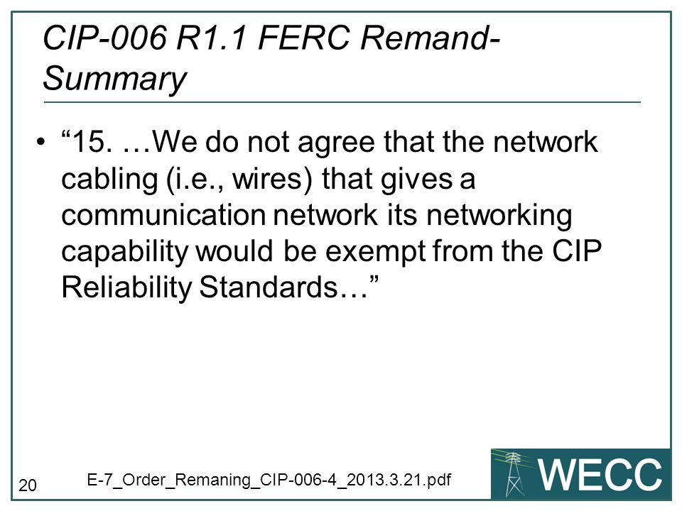 CIP-006 R1.1 FERC Remand- Summary