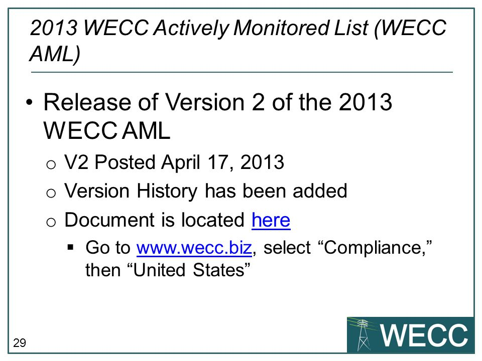 2013 WECC Actively Monitored List (WECC AML)