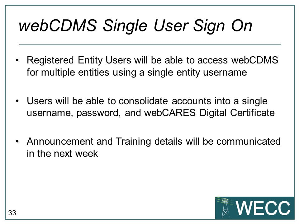 webCDMS Single User Sign On