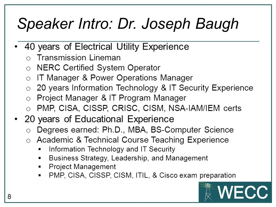 Speaker Intro: Dr. Joseph Baugh