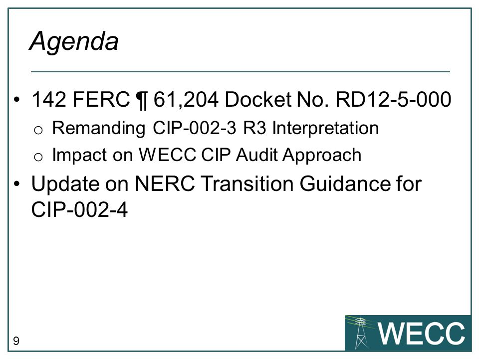 Agenda 142 FERC ¶ 61,204 Docket No. RD12-5-000