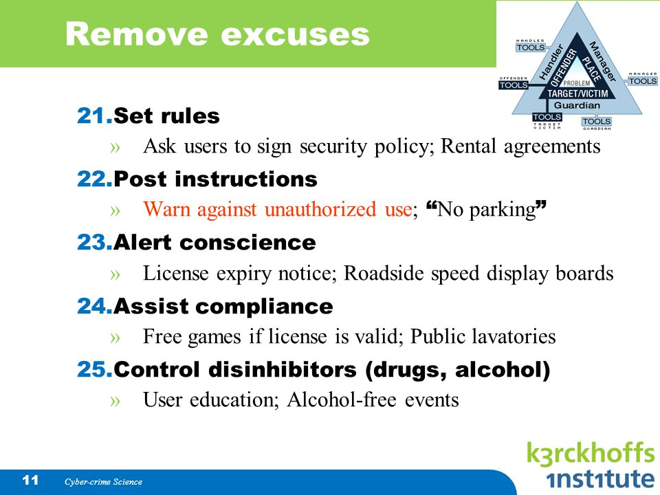 Remove excuses Set rules