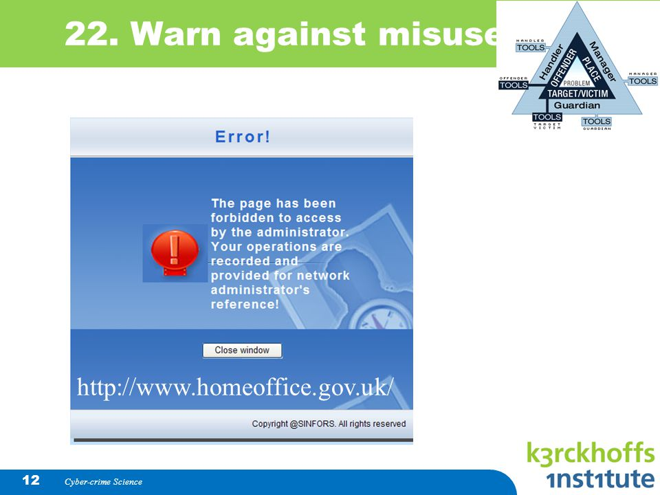 22. Warn against misuse http://www.homeoffice.gov.uk/