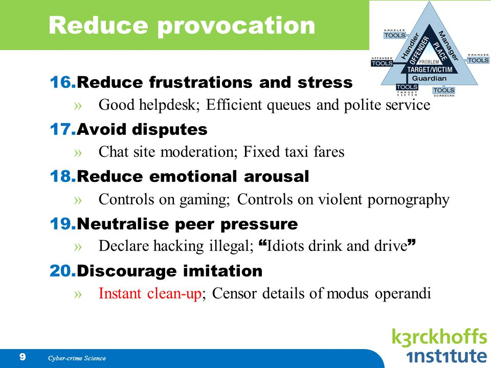 Reduce provocation Reduce frustrations and stress