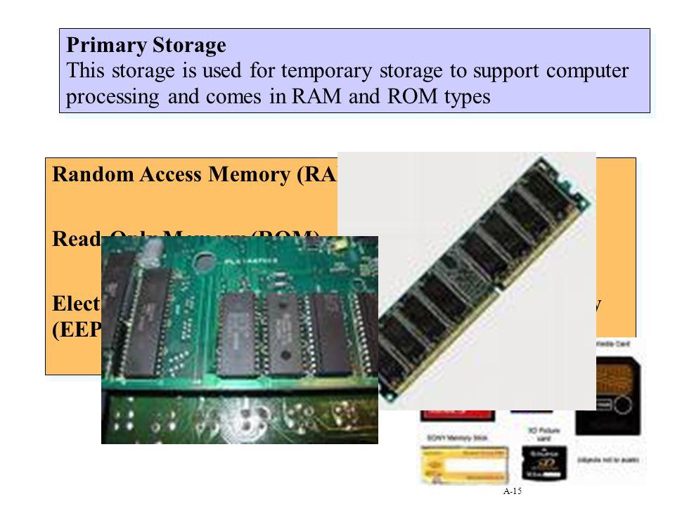 Random Access Memory (RAM) Read-Only Memory (ROM)