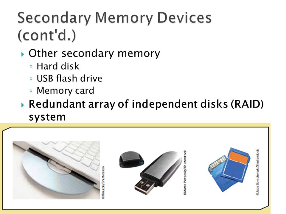 Secondary Memory Devices (cont d.)