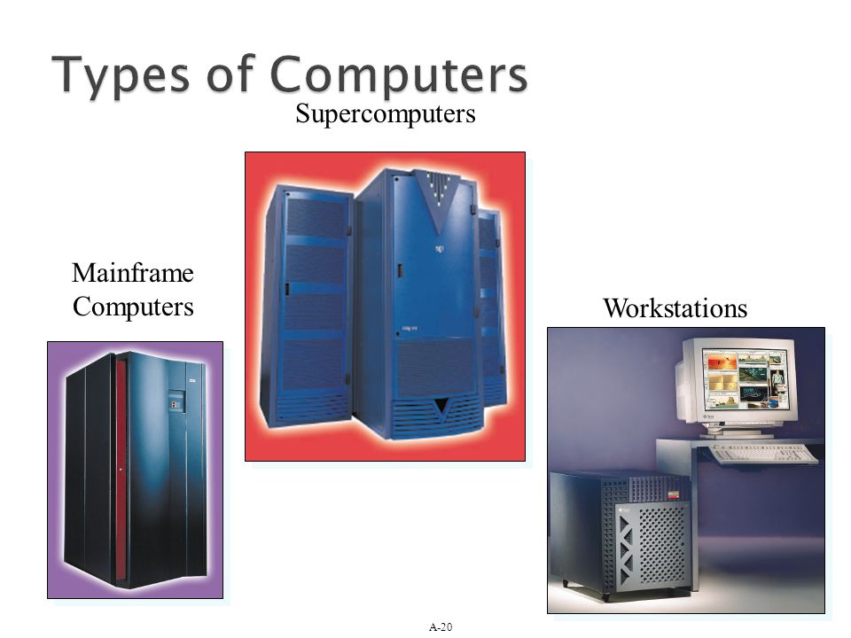 Types of Computers Supercomputers Mainframe Computers Workstations