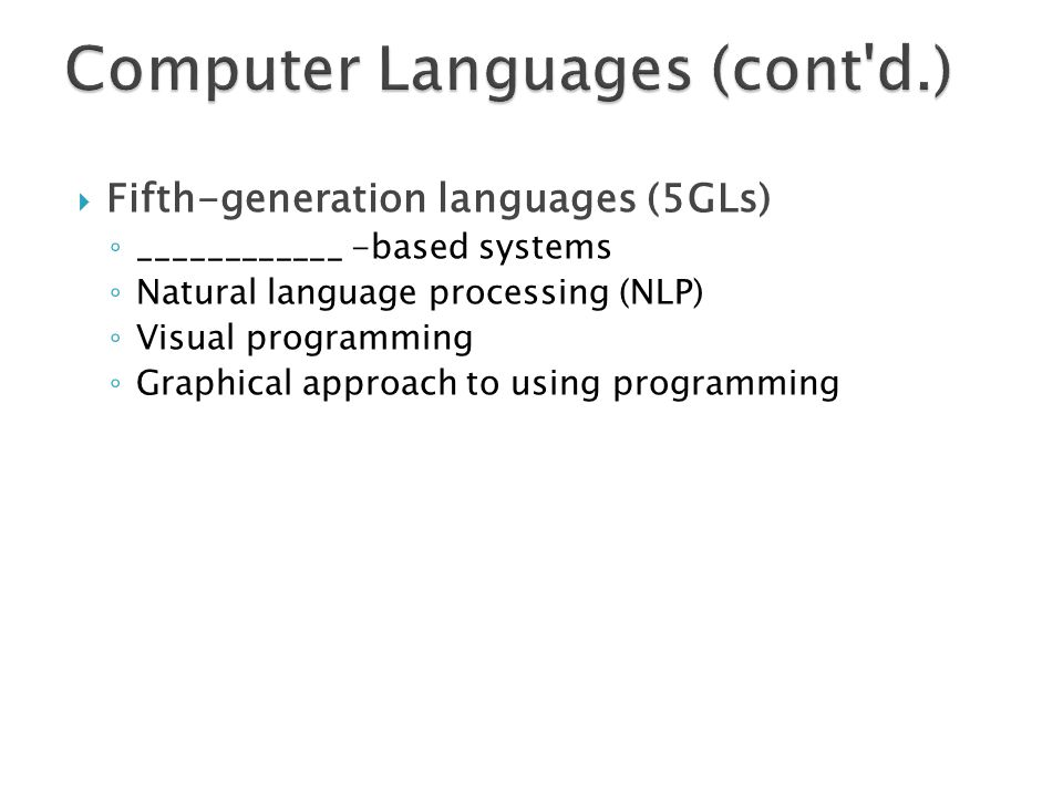 Computer Languages (cont d.)