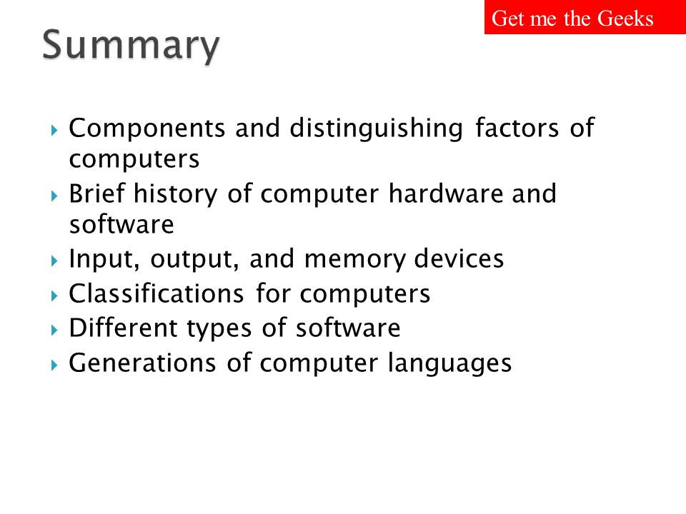 Summary Components and distinguishing factors of computers