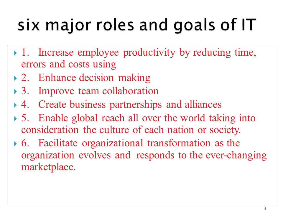 six major roles and goals of IT