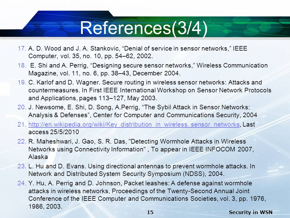 References(3/4) A. D. Wood and J. A. Stankovic, Denial of service in sensor networks, IEEE Computer, vol. 35, no. 10, pp. 54–62, 2002.