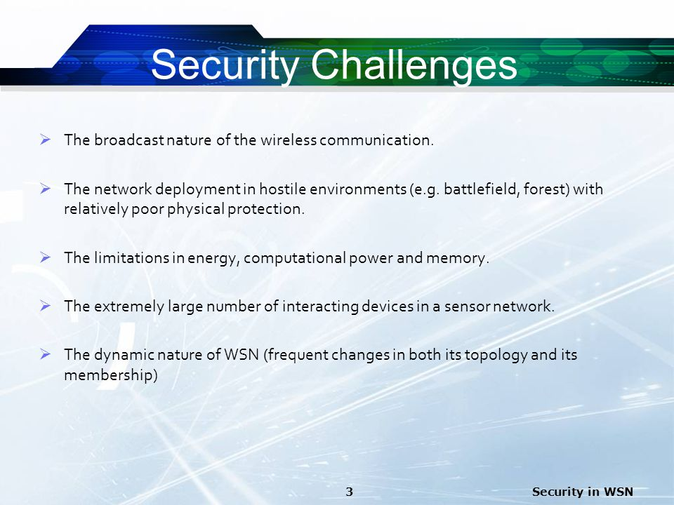 Security Challenges The broadcast nature of the wireless communication.