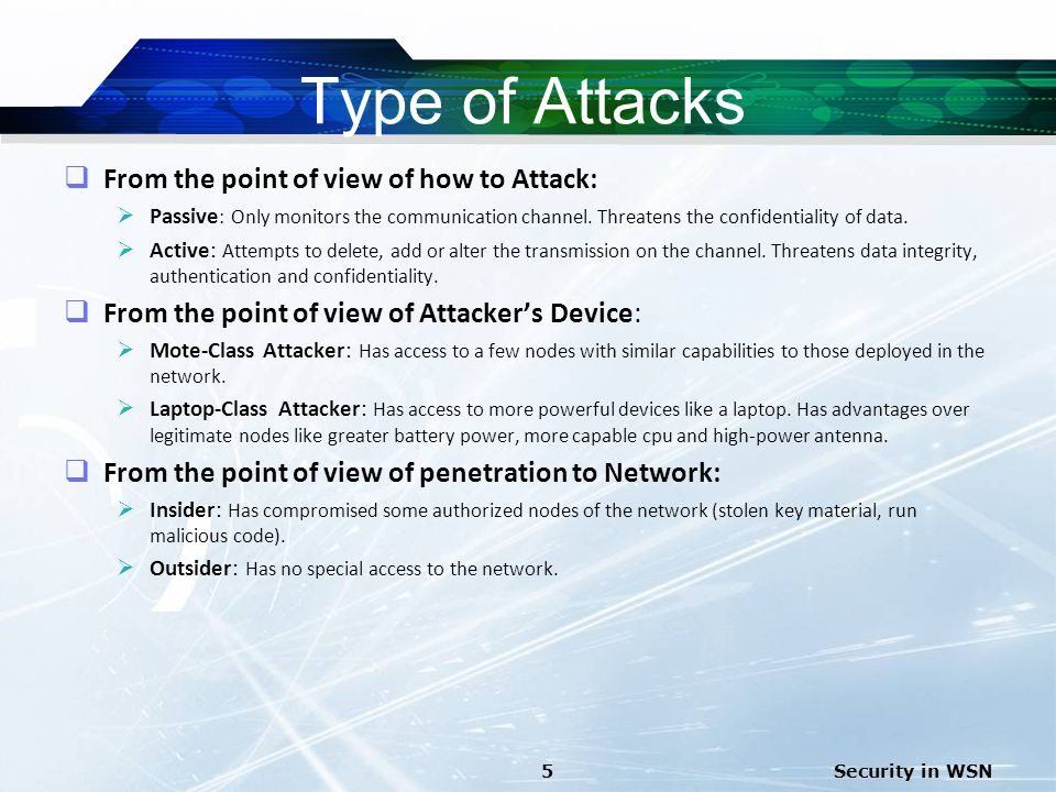 Type of Attacks From the point of view of how to Attack: