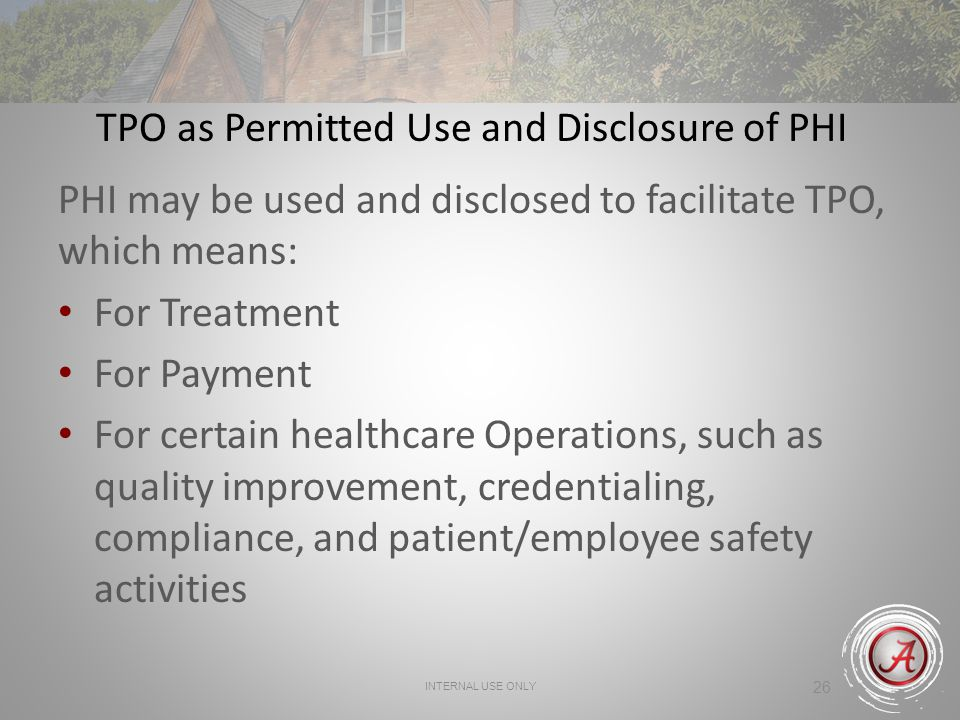 TPO as Permitted Use and Disclosure of PHI