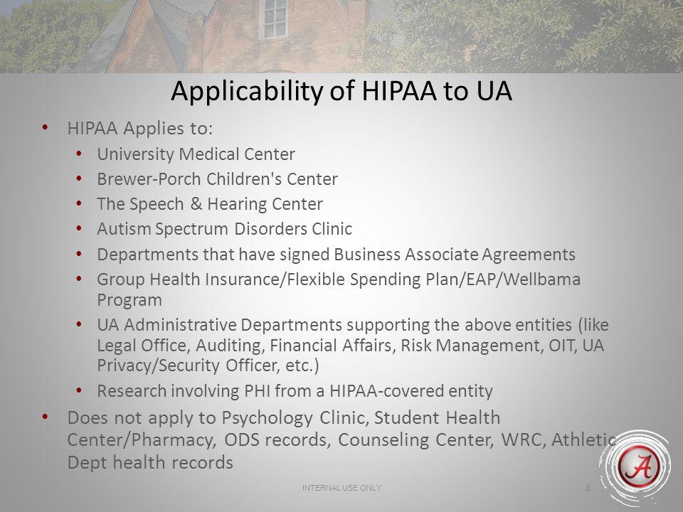 Applicability of HIPAA to UA