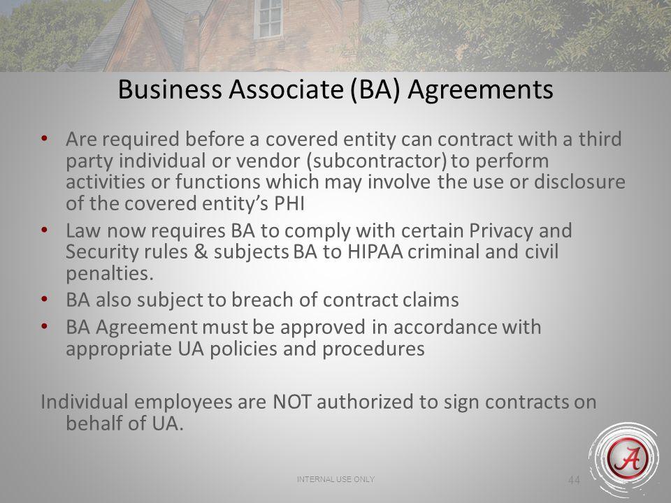 Business Associate (BA) Agreements