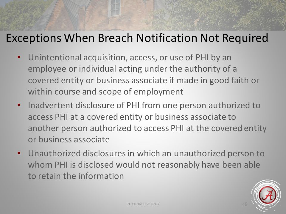 Exceptions When Breach Notification Not Required