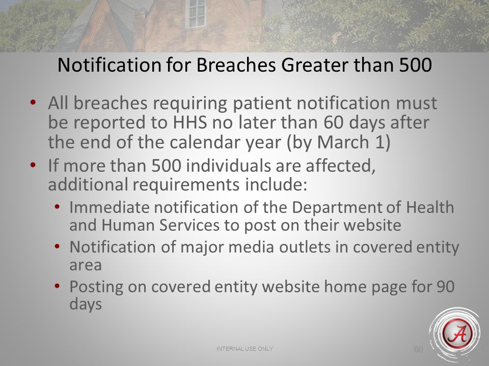 Notification for Breaches Greater than 500