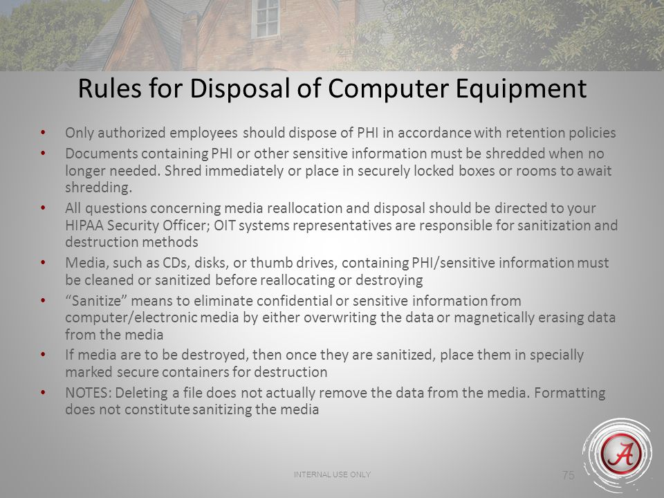 Rules for Disposal of Computer Equipment