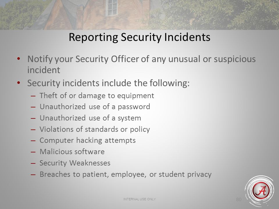 Reporting Security Incidents