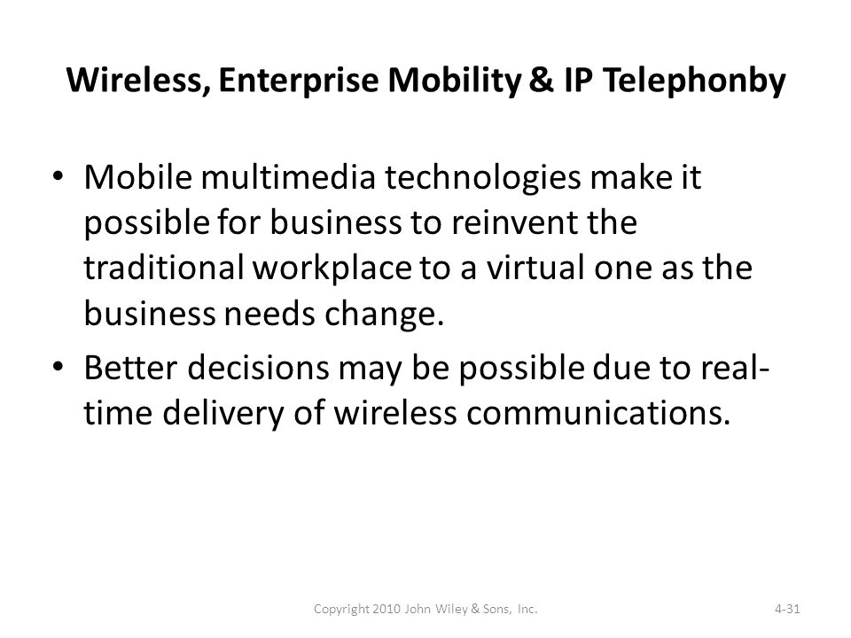 Wireless, Enterprise Mobility & IP Telephonby