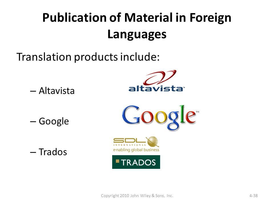 Publication of Material in Foreign Languages