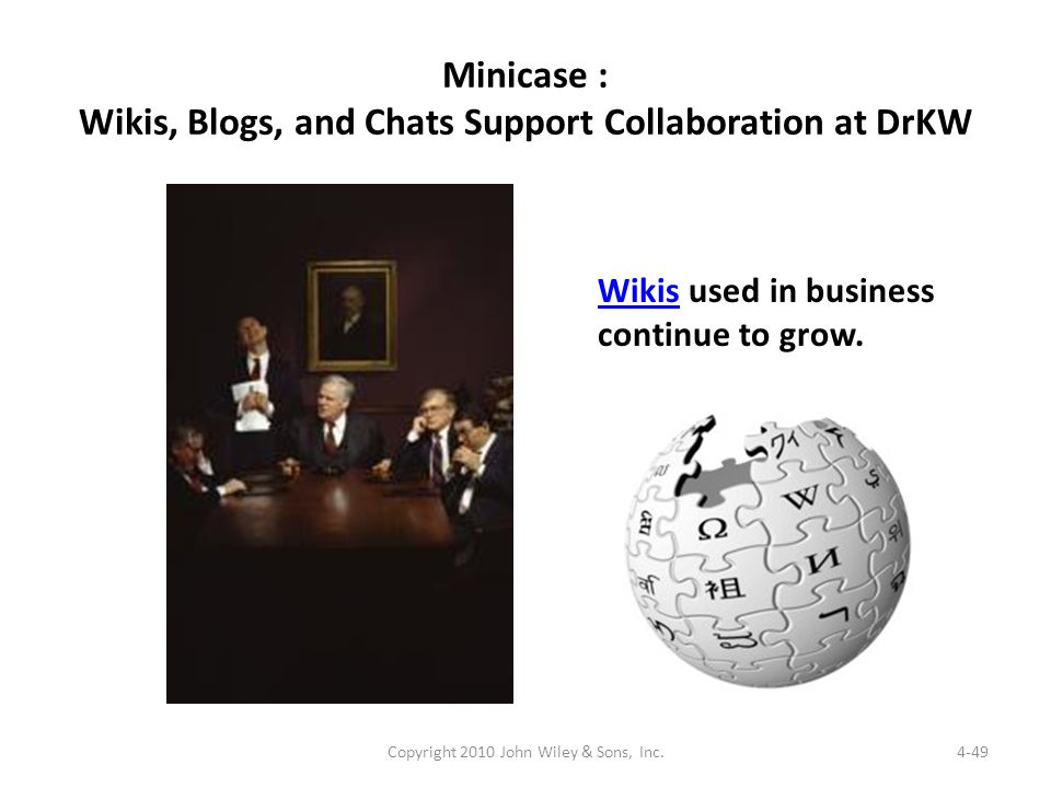 Minicase : Wikis, Blogs, and Chats Support Collaboration at DrKW