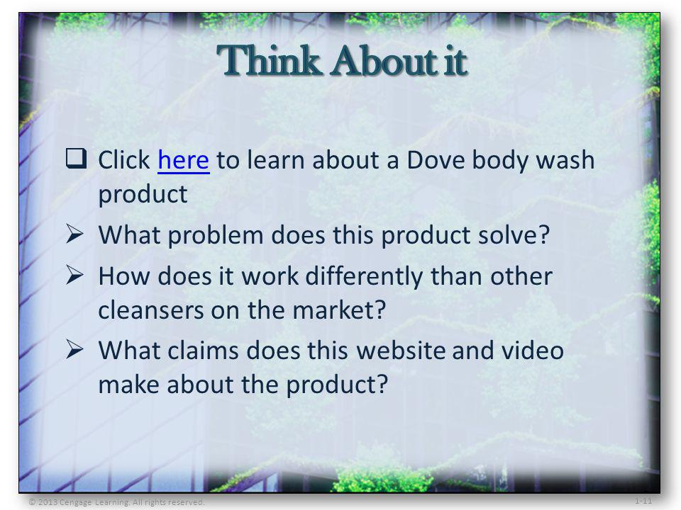 Think About it Click here to learn about a Dove body wash product