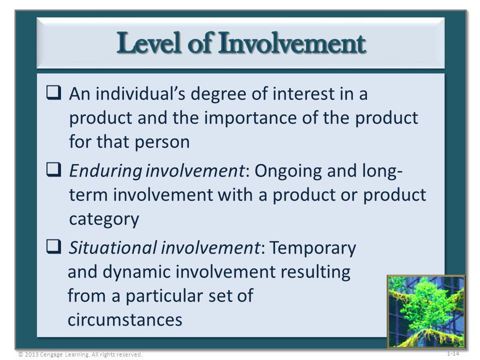 Level of Involvement An individual's degree of interest in a product and the importance of the product for that person.
