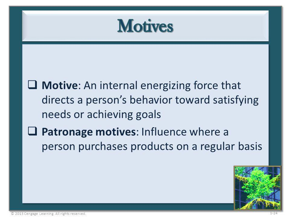 Motives Motive: An internal energizing force that directs a person's behavior toward satisfying needs or achieving goals.