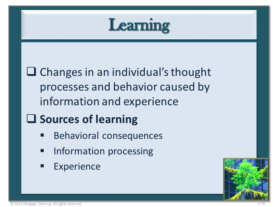 Learning Changes in an individual's thought processes and behavior caused by information and experience.