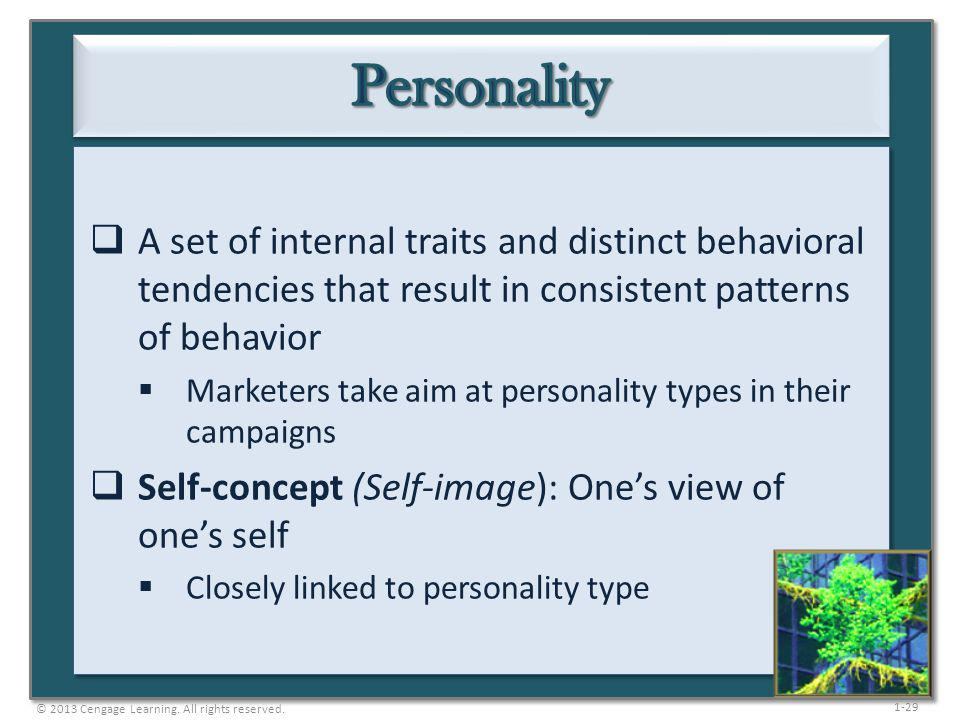 Personality A set of internal traits and distinct behavioral tendencies that result in consistent patterns of behavior.