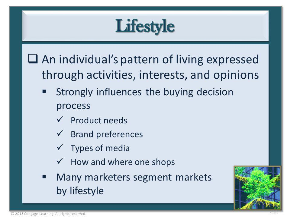 Lifestyle An individual's pattern of living expressed through activities, interests, and opinions. Strongly influences the buying decision process.