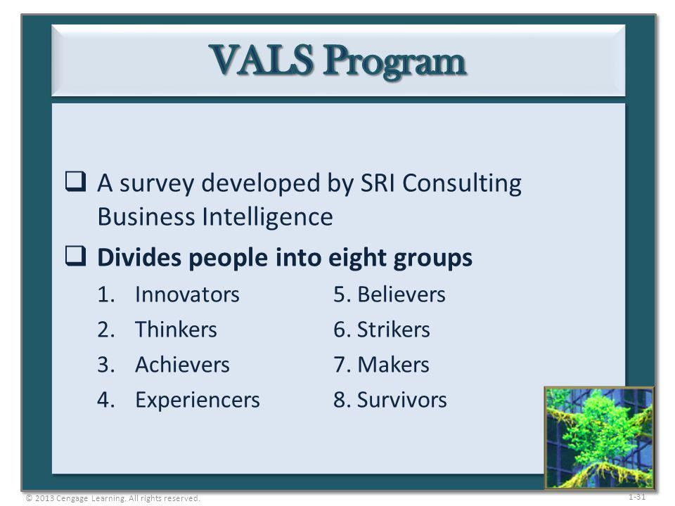 VALS Program A survey developed by SRI Consulting Business Intelligence. Divides people into eight groups.