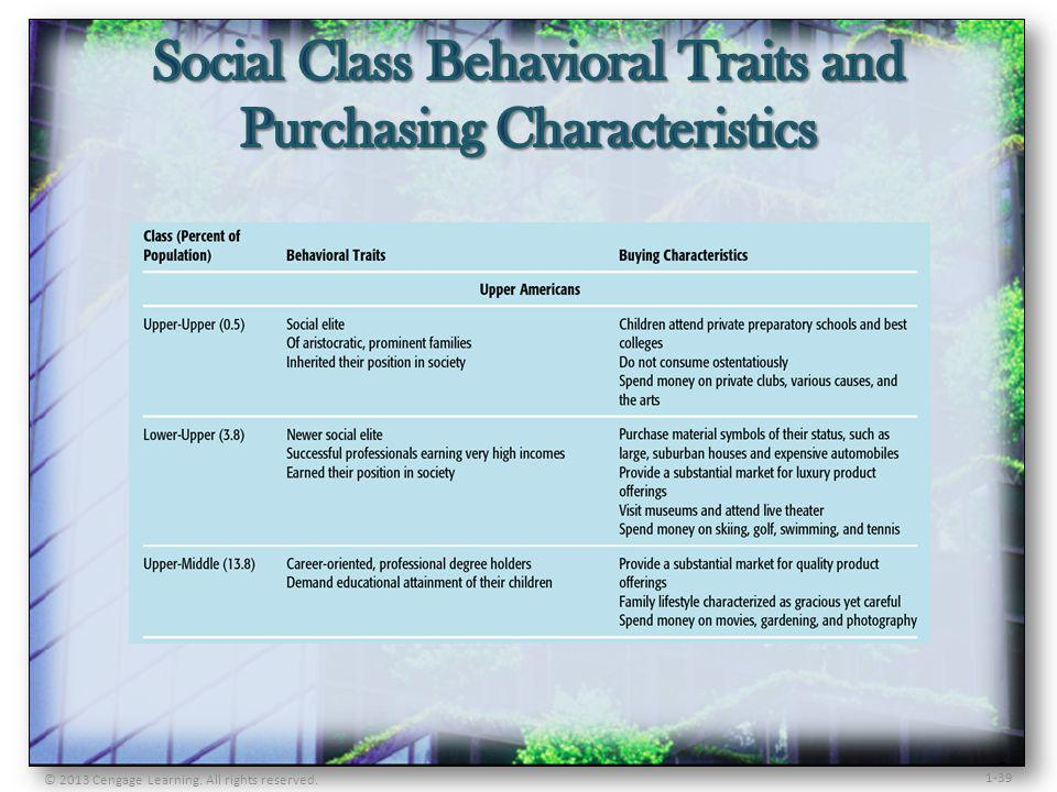 Social Class Behavioral Traits and Purchasing Characteristics