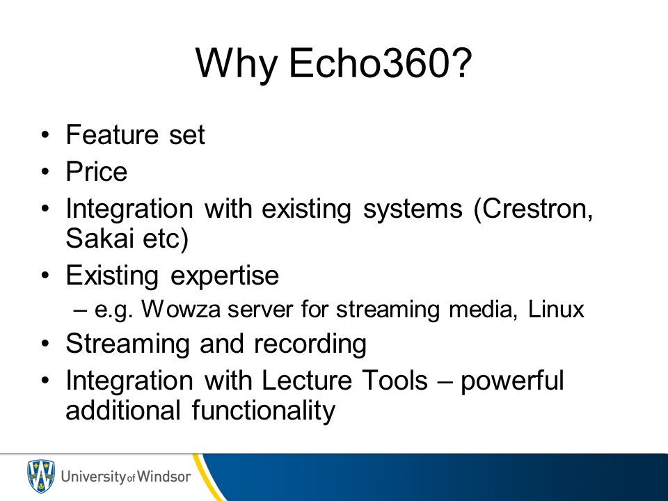 Why Echo360 Feature set Price