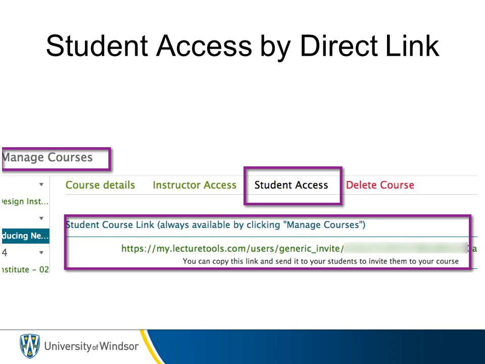 Student Access by Direct Link