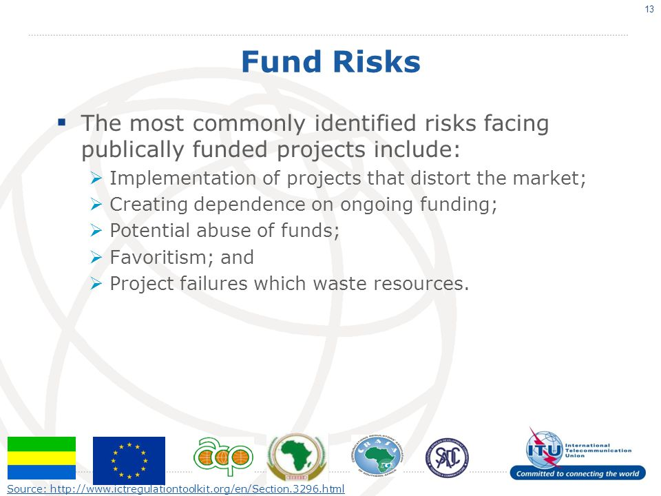Fund Risks The most commonly identified risks facing publically funded projects include: Implementation of projects that distort the market;