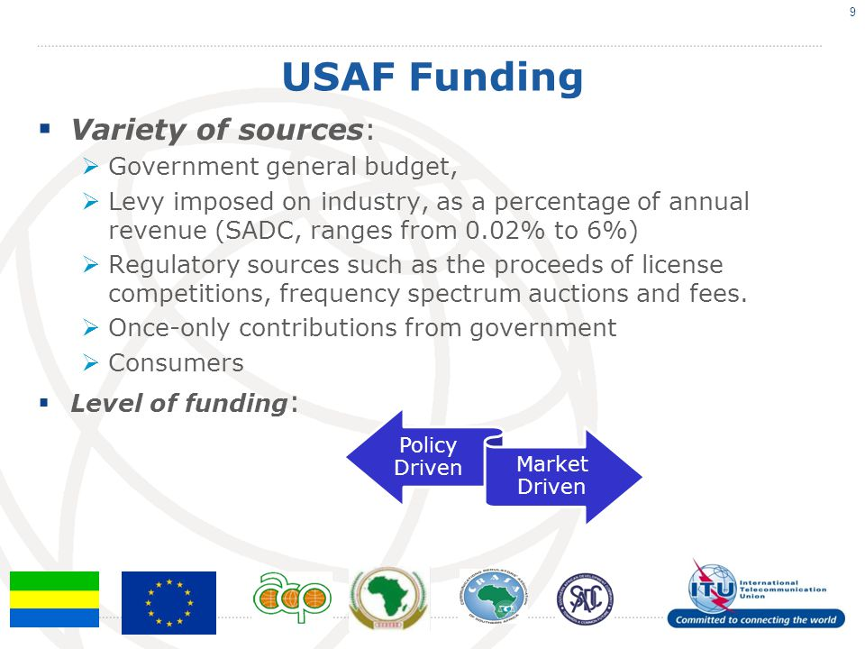 USAF Funding Variety of sources: Government general budget,