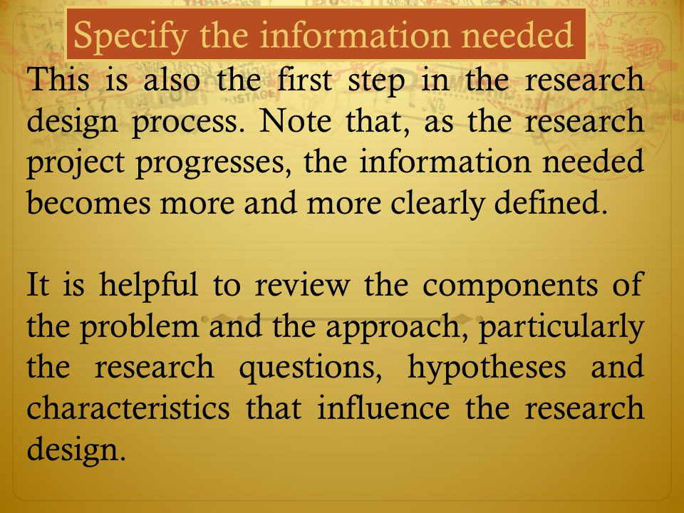 Specify the information needed