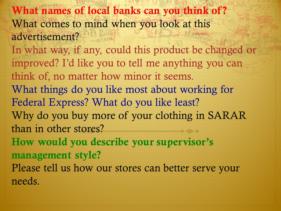 What names of local banks can you think of
