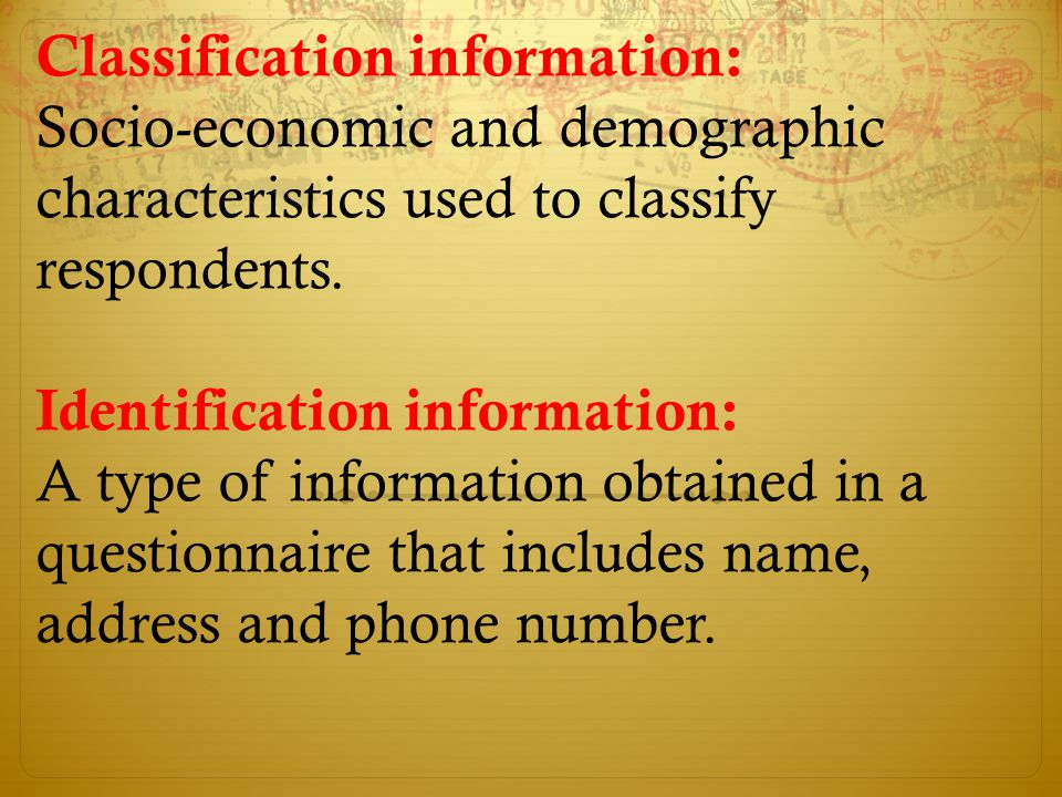 Classification information: